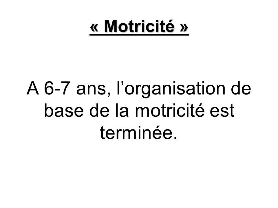 « Motricité » A 6-7 ans, lorganisation de base de la motricité est terminée.