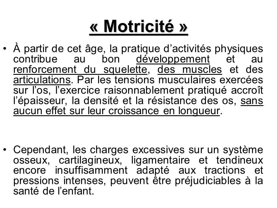 « Motricité » À partir de cet âge, la pratique dactivités physiques contribue au bon développement et au renforcement du squelette, des muscles et des