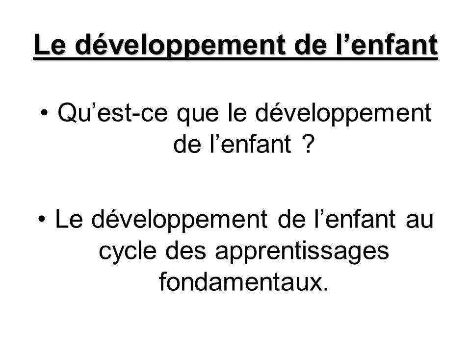 Le développement de lenfant Quest-ce que le développement de lenfant ? Le développement de lenfant au cycle des apprentissages fondamentaux.