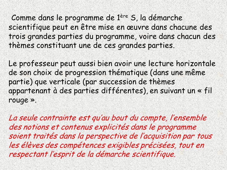 Comme dans le programme de 1 ère S, la démarche scientifique peut en être mise en œuvre dans chacune des trois grandes parties du programme, voire dan