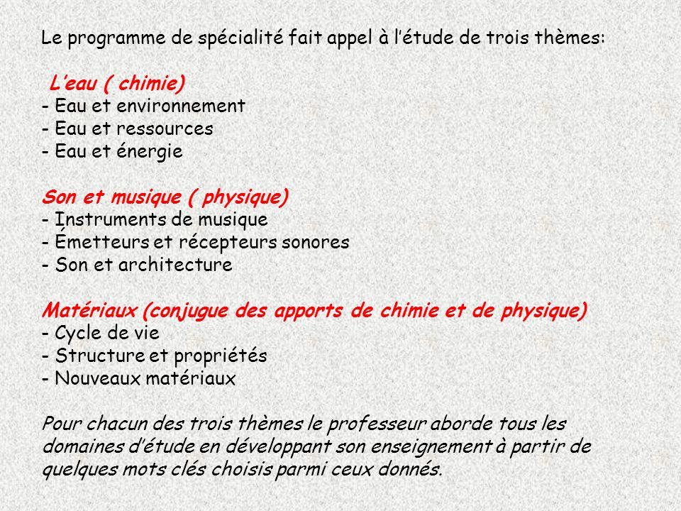 Le programme de spécialité fait appel à létude de trois thèmes: Leau ( chimie) - Eau et environnement - Eau et ressources - Eau et énergie Son et musi