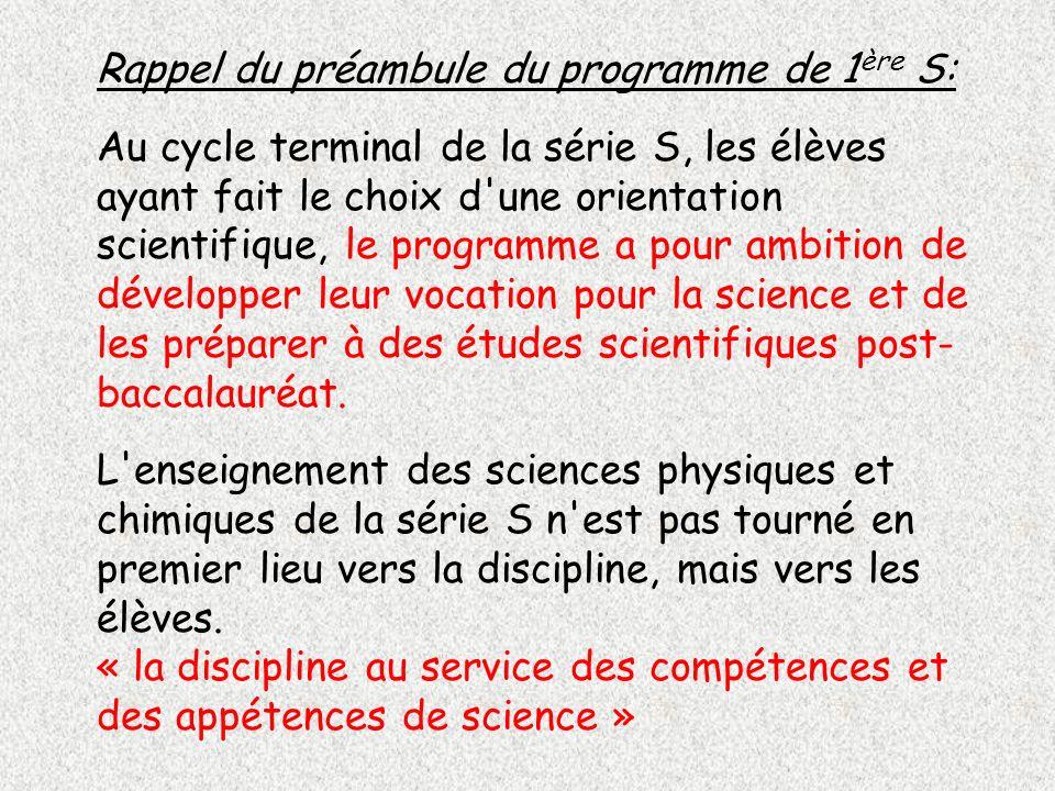Rappel du préambule du programme de 1 ère S: Au cycle terminal de la série S, les élèves ayant fait le choix d'une orientation scientifique, le progra