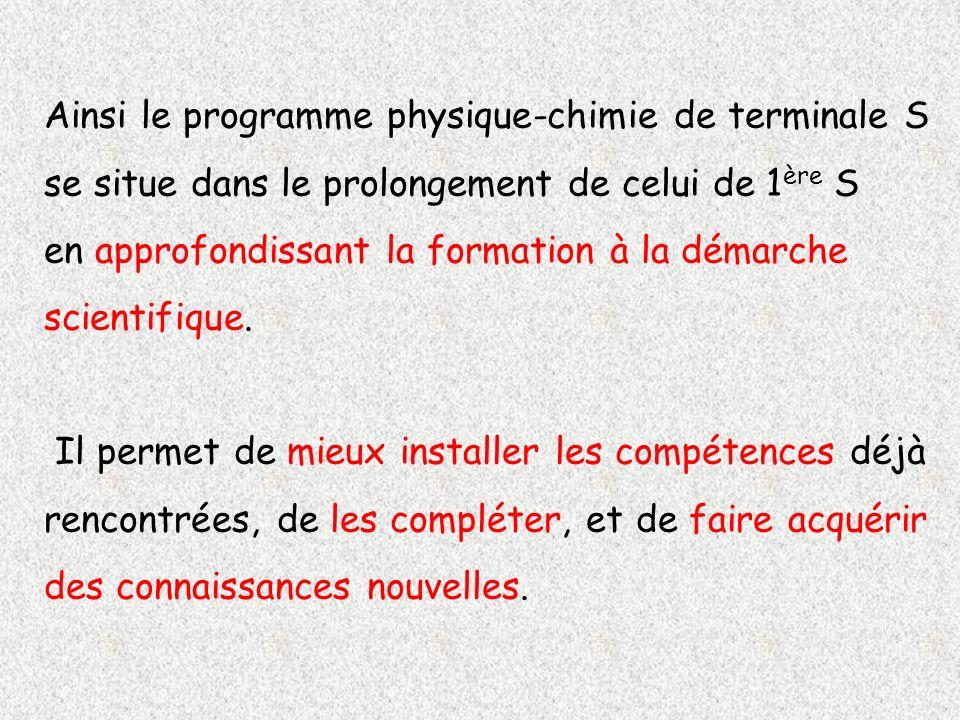Ainsi le programme physique-chimie de terminale S se situe dans le prolongement de celui de 1 ère S en approfondissant la formation à la démarche scie