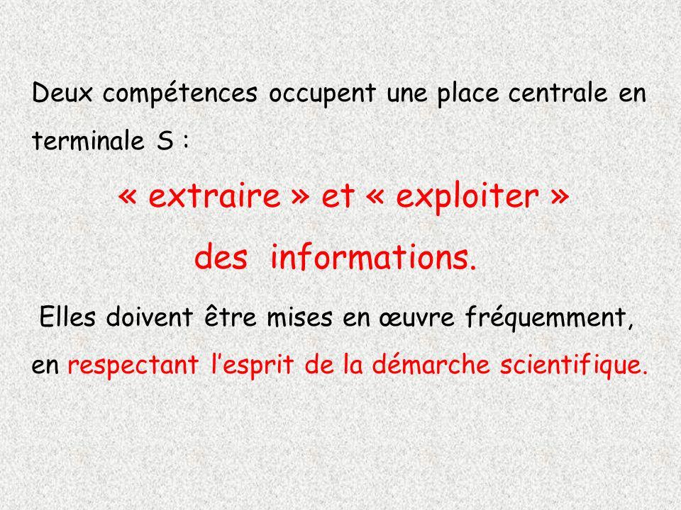 Deux compétences occupent une place centrale en terminale S : « extraire » et « exploiter » des informations. Elles doivent être mises en œuvre fréque