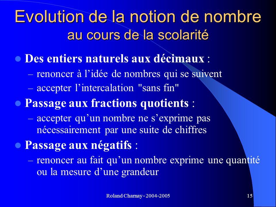 Roland Charnay - 2004-200515 Evolution de la notion de nombre au cours de la scolarité Des entiers naturels aux décimaux : – renoncer à lidée de nombr
