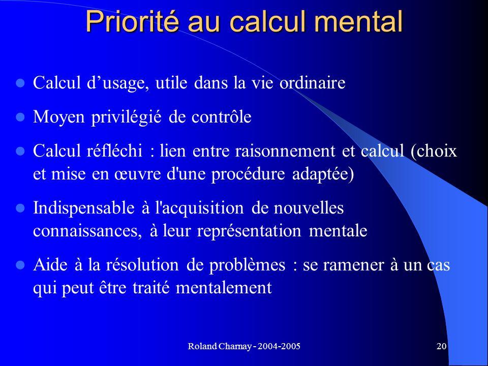 Roland Charnay - 2004-200520 Priorité au calcul mental Calcul dusage, utile dans la vie ordinaire Moyen privilégié de contrôle Calcul réfléchi : lien
