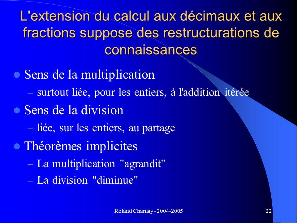 Roland Charnay - 2004-200522 L'extension du calcul aux décimaux et aux fractions suppose des restructurations de connaissances Sens de la multiplicati