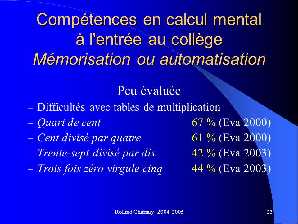 Roland Charnay - 2004-200523 Compétences en calcul mental à l'entrée au collège Mémorisation ou automatisation Peu évaluée – Difficultés avec tables d