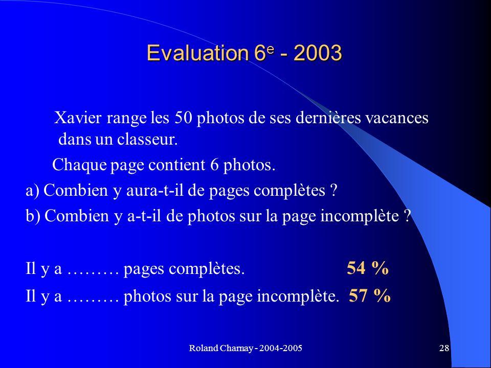Roland Charnay - 2004-200528 Evaluation 6 e - 2003 Xavier range les 50 photos de ses dernières vacances dans un classeur. Chaque page contient 6 photo