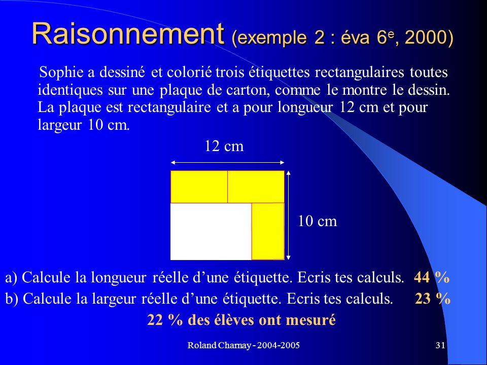 Roland Charnay - 2004-200531 Sophie a dessiné et colorié trois étiquettes rectangulaires toutes identiques sur une plaque de carton, comme le montre l