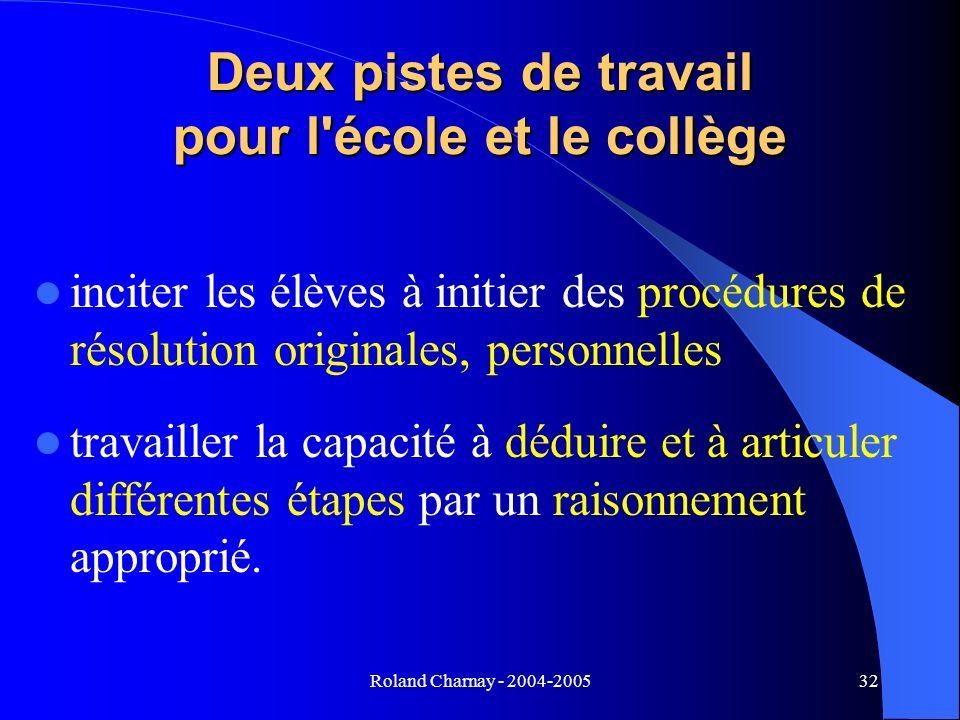 Roland Charnay - 2004-200532 Deux pistes de travail pour l'école et le collège inciter les élèves à initier des procédures de résolution originales, p