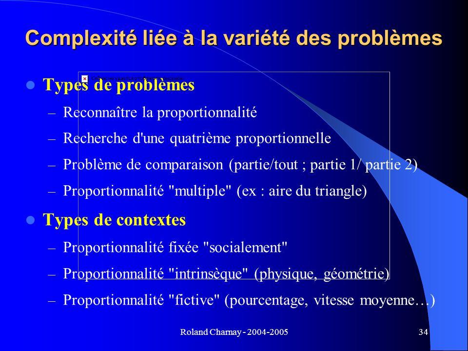 Roland Charnay - 2004-200534 Complexité liée à la variété des problèmes Types de problèmes – Reconnaître la proportionnalité – Recherche d'une quatriè