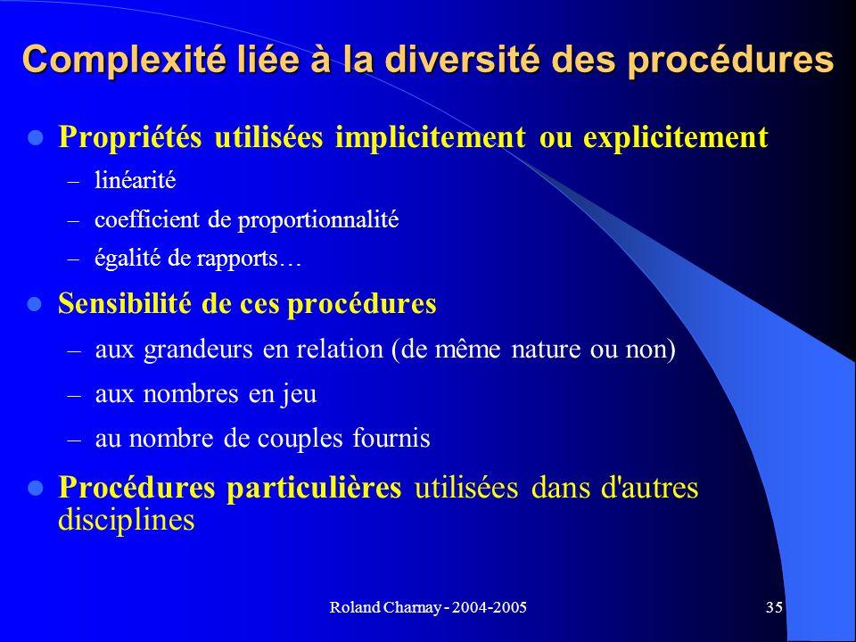 Roland Charnay - 2004-200535 Complexité liée à la diversité des procédures Propriétés utilisées implicitement ou explicitement – linéarité – coefficie