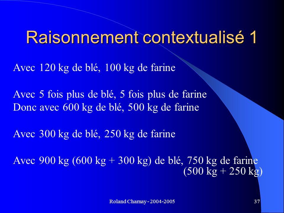 Roland Charnay - 2004-200537 Raisonnement contextualisé 1 Avec 120 kg de blé, 100 kg de farine Avec 5 fois plus de blé, 5 fois plus de farine Donc ave