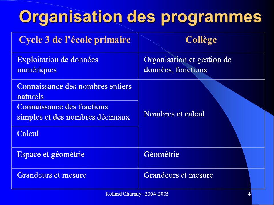 Roland Charnay - 2004-20054 Organisation des programmes Cycle 3 de lécole primaireCollège Exploitation de données numériques Organisation et gestion d
