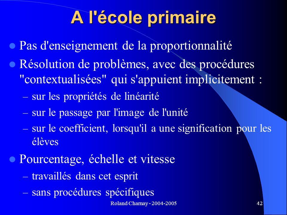 Roland Charnay - 2004-200542 A l'école primaire Pas d'enseignement de la proportionnalité Résolution de problèmes, avec des procédures