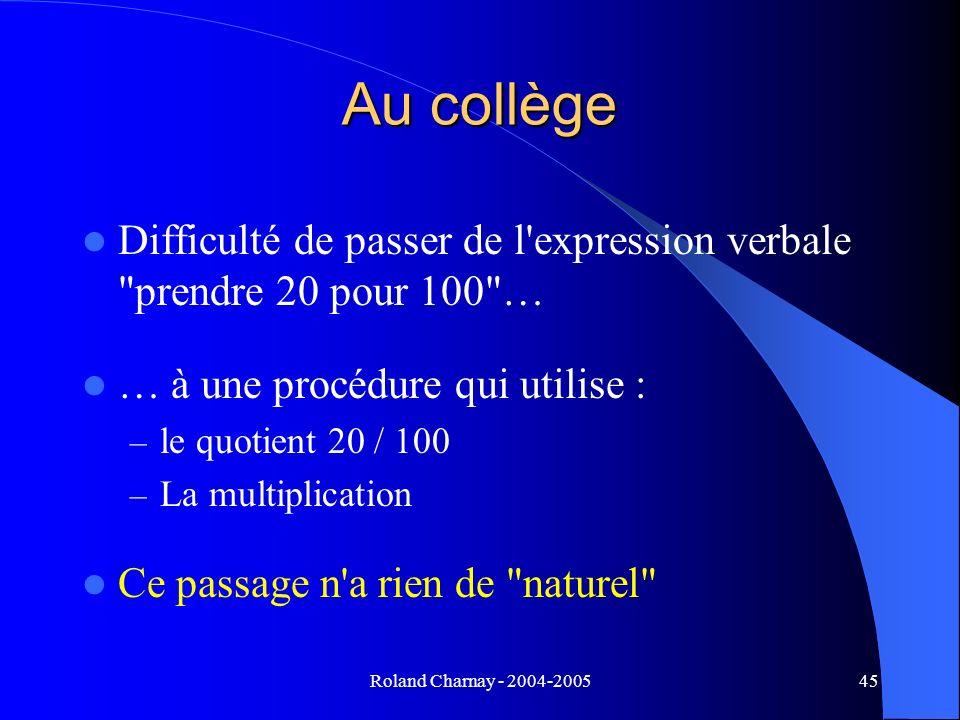 Roland Charnay - 2004-200545 Au collège Difficulté de passer de l'expression verbale