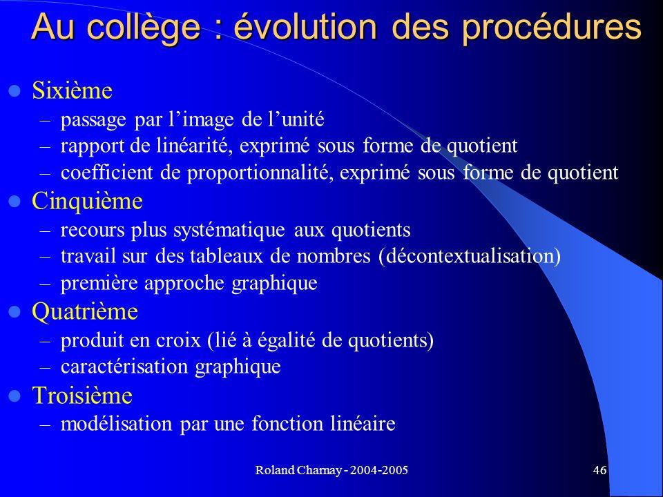 Roland Charnay - 2004-200546 Au collège : évolution des procédures Sixième – passage par limage de lunité – rapport de linéarité, exprimé sous forme d