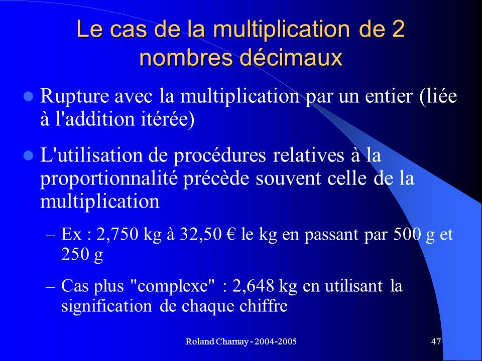 Roland Charnay - 2004-200547 Le cas de la multiplication de 2 nombres décimaux Rupture avec la multiplication par un entier (liée à l'addition itérée)