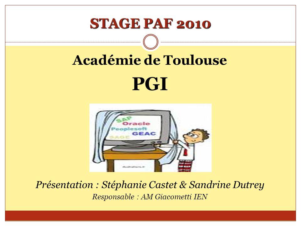 STAGE PAF 2010 Académie de Toulouse PGI Présentation : Stéphanie Castet & Sandrine Dutrey Responsable : AM Giacometti IEN