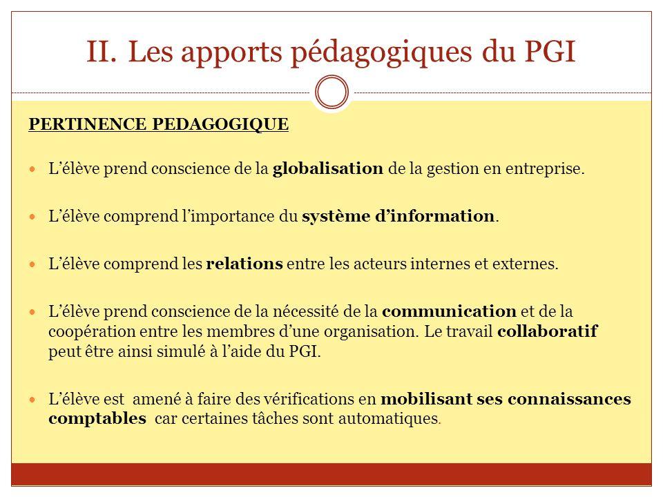 II.Les apports pédagogiques du PGI PERTINENCE PEDAGOGIQUE Lélève prend conscience de la globalisation de la gestion en entreprise. Lélève comprend lim