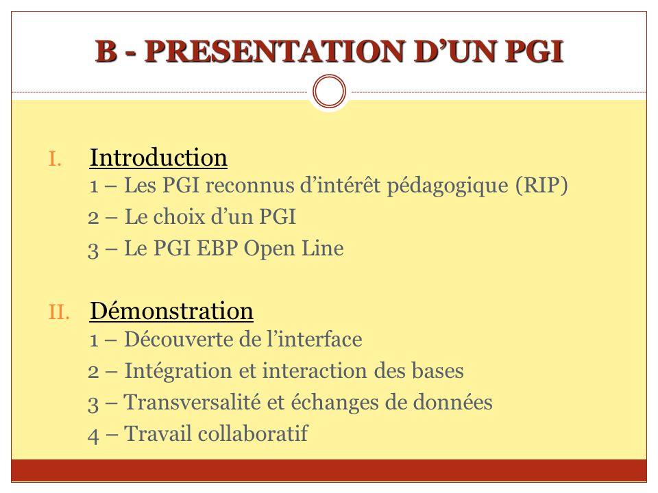 B - PRESENTATION DUN PGI I. Introduction 1 – Les PGI reconnus dintérêt pédagogique (RIP) 2 – Le choix dun PGI 3 – Le PGI EBP Open Line II. Démonstrati