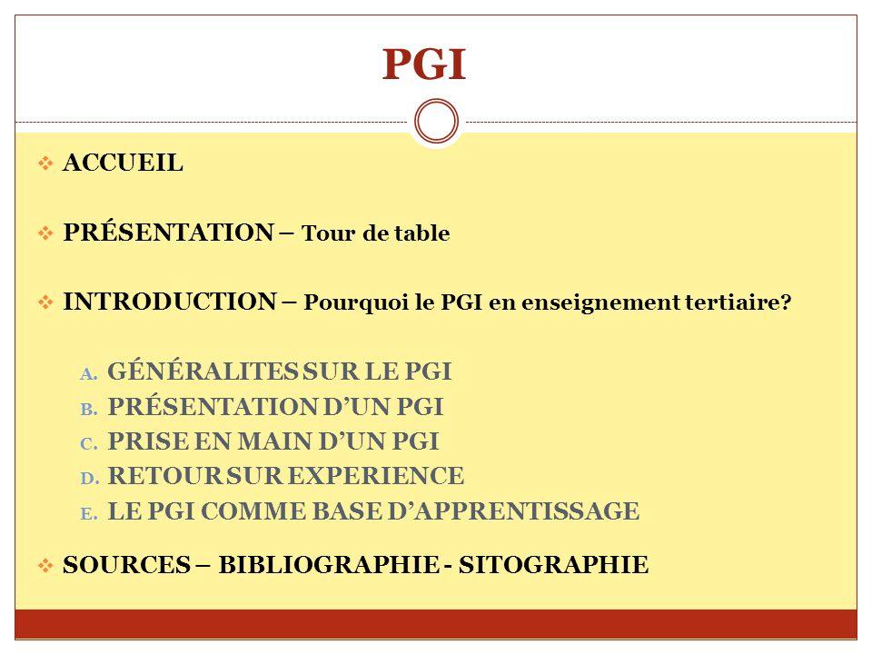 PGI ACCUEIL PRÉSENTATION – Tour de table INTRODUCTION – Pourquoi le PGI en enseignement tertiaire? A. GÉNÉRALITES SUR LE PGI B. PRÉSENTATION DUN PGI C