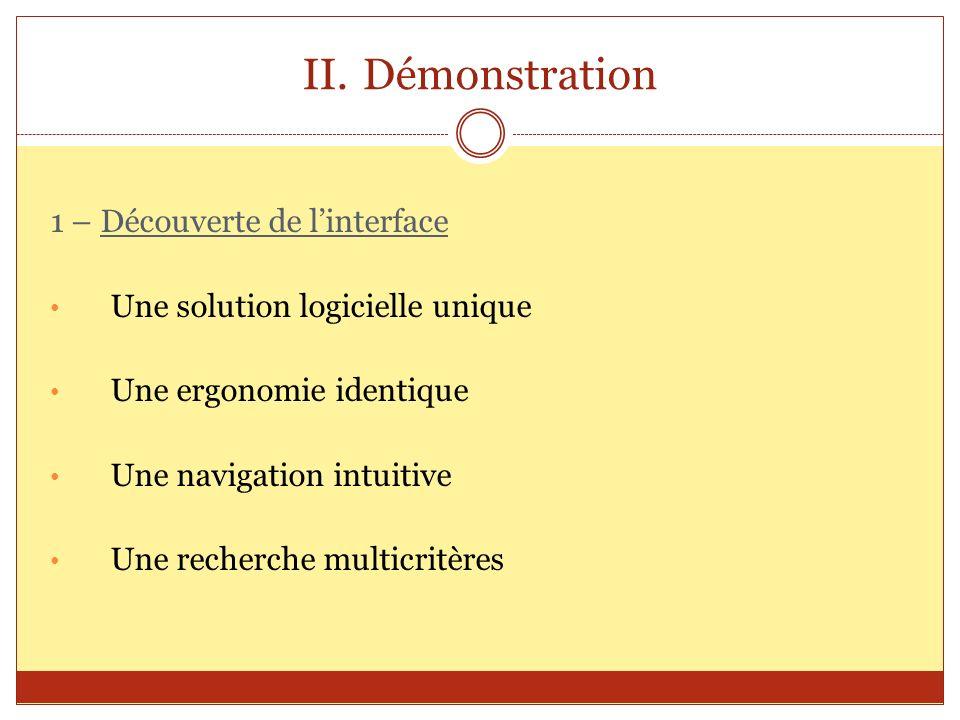 II.Démonstration 1 – Découverte de linterface Une solution logicielle unique Une ergonomie identique Une navigation intuitive Une recherche multicritè