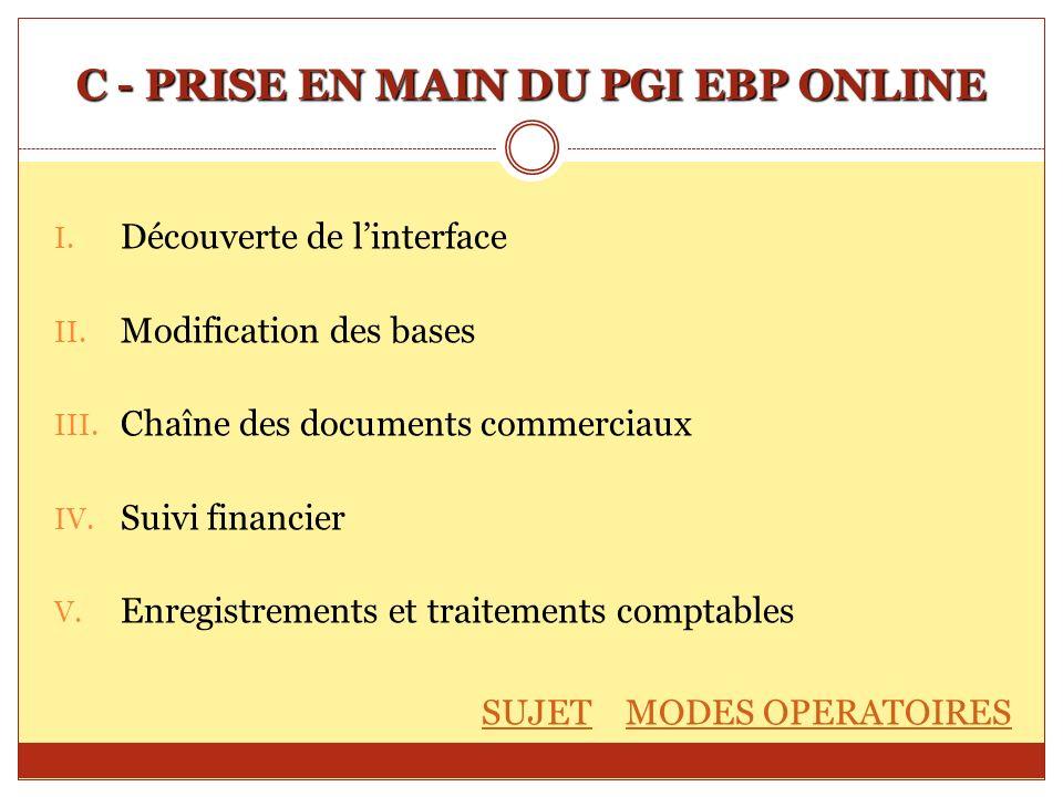 C - PRISE EN MAIN DU PGI EBP ONLINE I. Découverte de linterface II. Modification des bases III. Chaîne des documents commerciaux IV. Suivi financier V