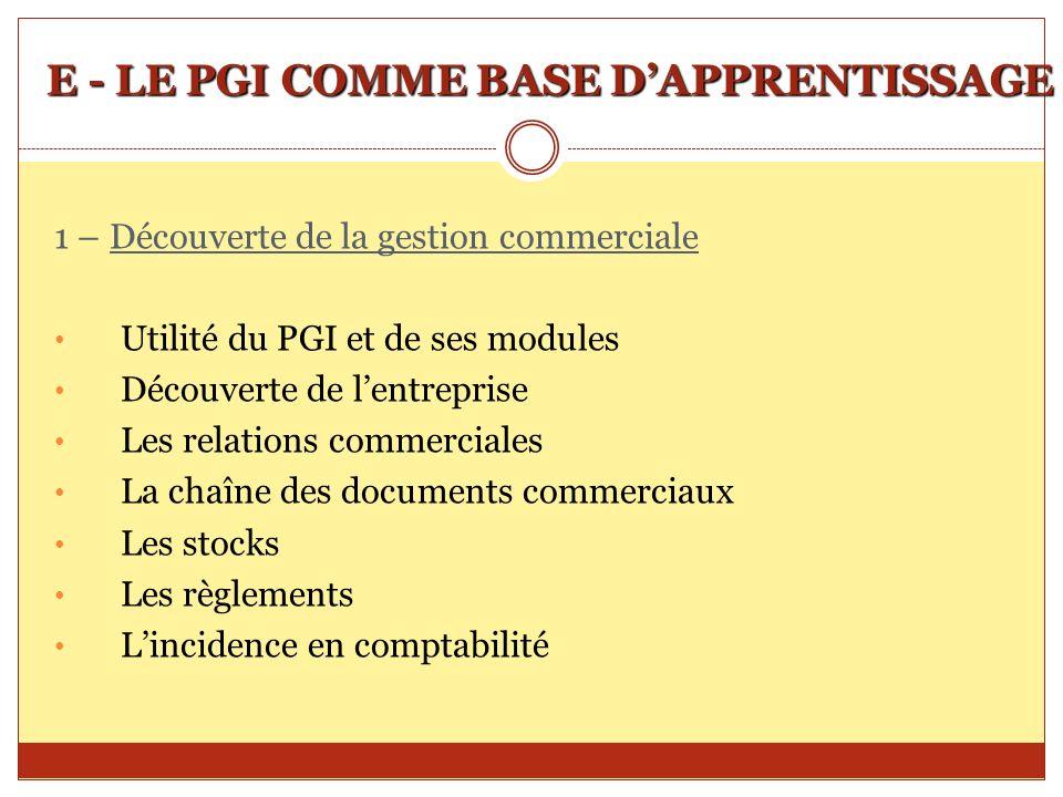 E - LE PGI COMME BASE DAPPRENTISSAGE 1 – Découverte de la gestion commerciale Utilité du PGI et de ses modules Découverte de lentreprise Les relations