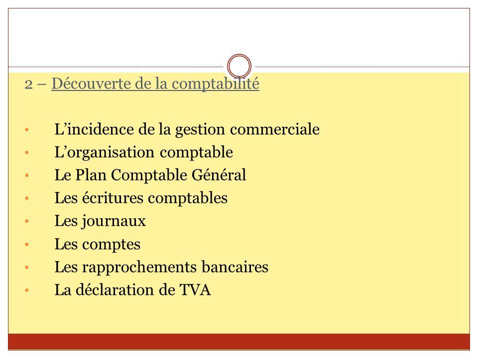 2 – Découverte de la comptabilité Lincidence de la gestion commerciale Lorganisation comptable Le Plan Comptable Général Les écritures comptables Les