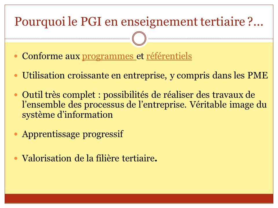 Pourquoi le PGI en enseignement tertiaire ?... Conforme aux programmes et référentielsprogrammes référentiels Utilisation croissante en entreprise, y
