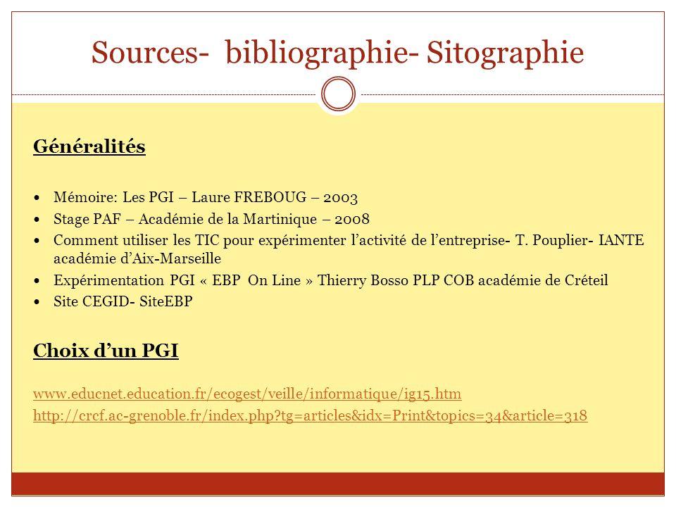 Sources- bibliographie- Sitographie Généralités Mémoire: Les PGI – Laure FREBOUG – 2003 Stage PAF – Académie de la Martinique – 2008 Comment utiliser
