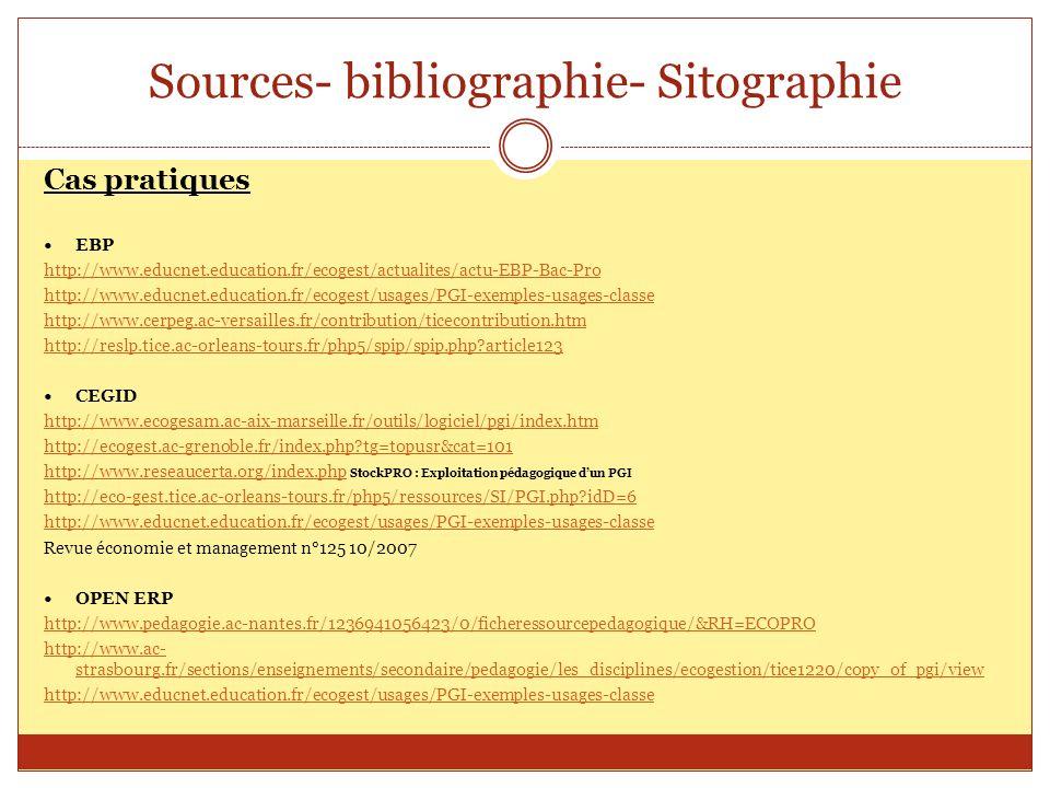 Sources- bibliographie- Sitographie Cas pratiques EBP http://www.educnet.education.fr/ecogest/actualites/actu-EBP-Bac-Pro http://www.educnet.education