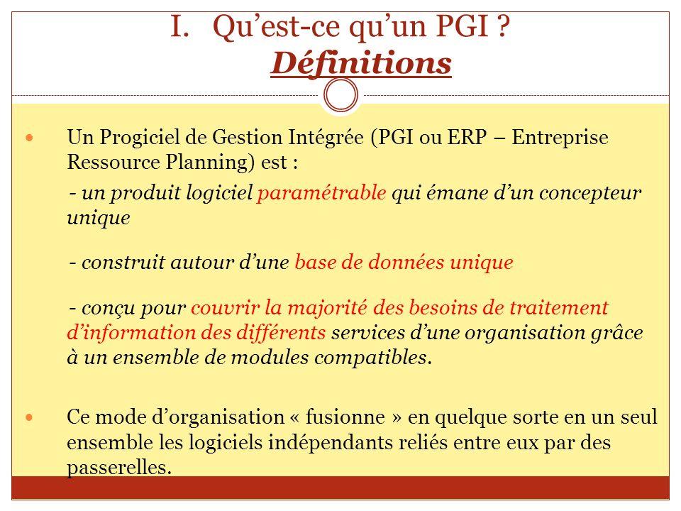 I.Quest-ce quun PGI ? Définitions Un Progiciel de Gestion Intégrée (PGI ou ERP – Entreprise Ressource Planning) est : - un produit logiciel paramétrab