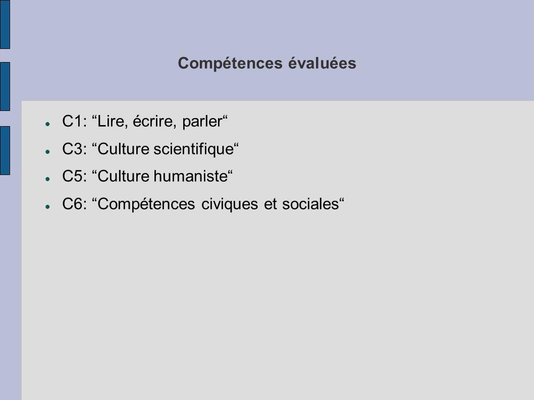 Compétences évaluées C1: Lire, écrire, parler C3: Culture scientifique C5: Culture humaniste C6: Compétences civiques et sociales