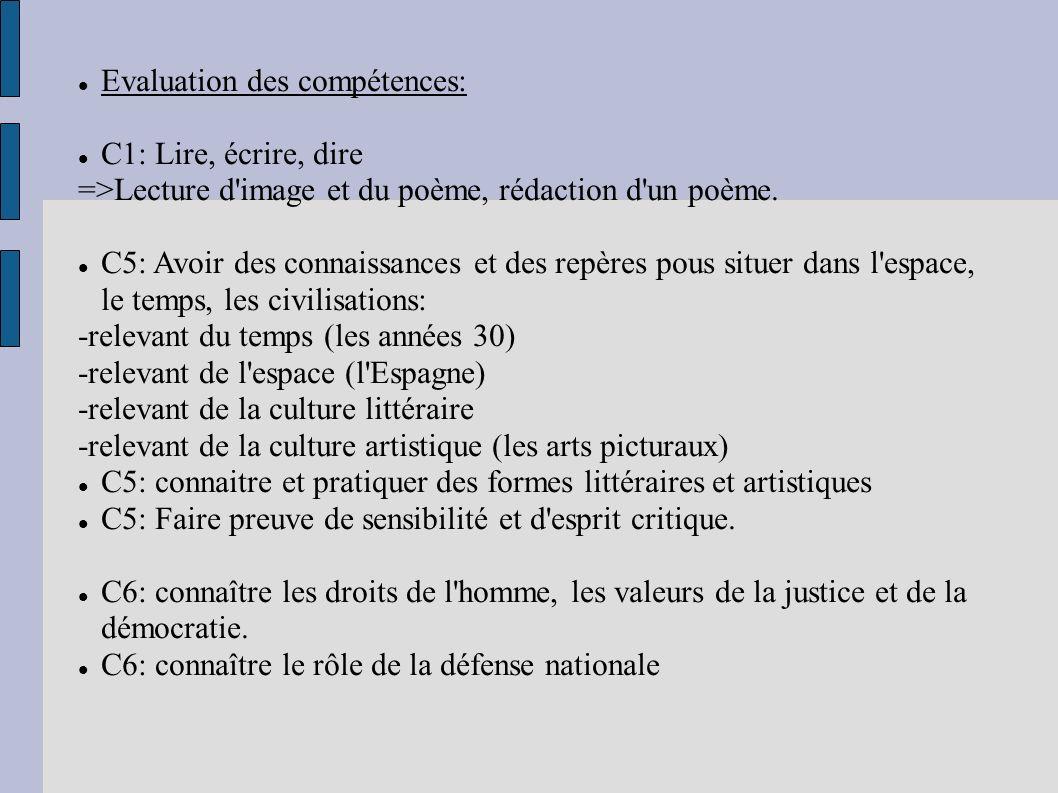 Evaluation des compétences: C1: Lire, écrire, dire =>Lecture d'image et du poème, rédaction d'un poème. C5: Avoir des connaissances et des repères pou