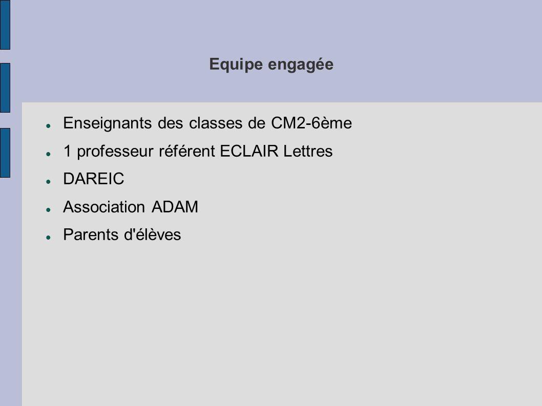 Equipe engagée Enseignants des classes de CM2-6ème 1 professeur référent ECLAIR Lettres DAREIC Association ADAM Parents d'élèves