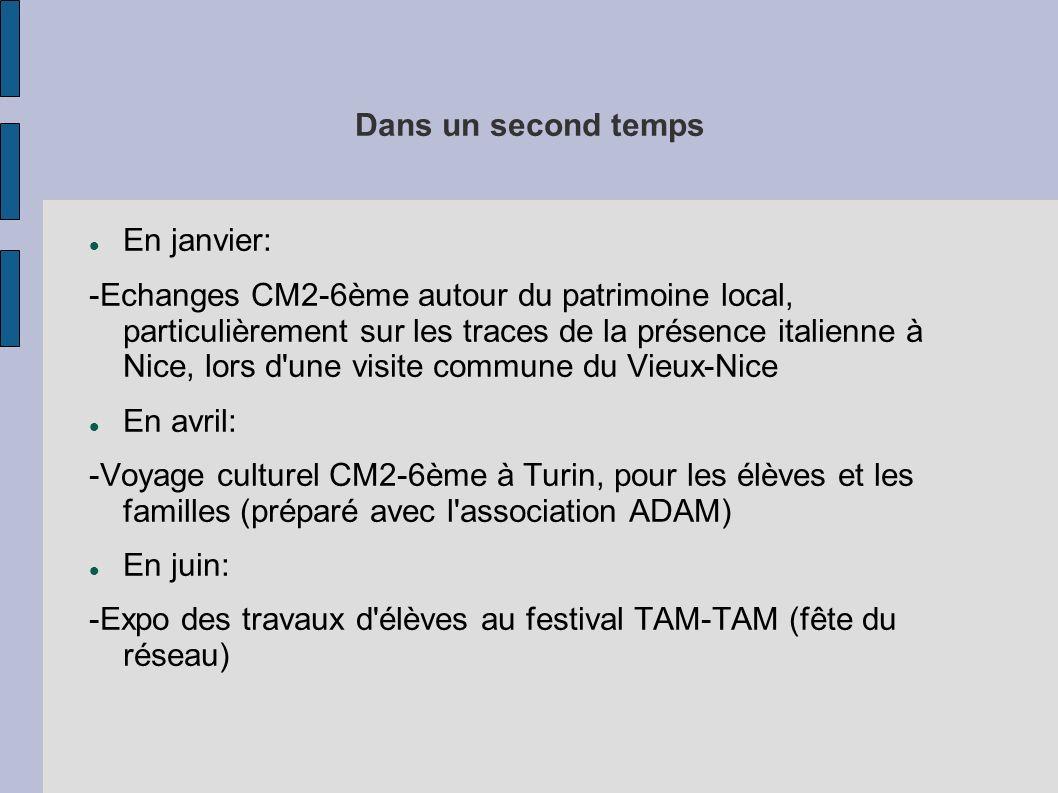 Dans un second temps En janvier: -Echanges CM2-6ème autour du patrimoine local, particulièrement sur les traces de la présence italienne à Nice, lors