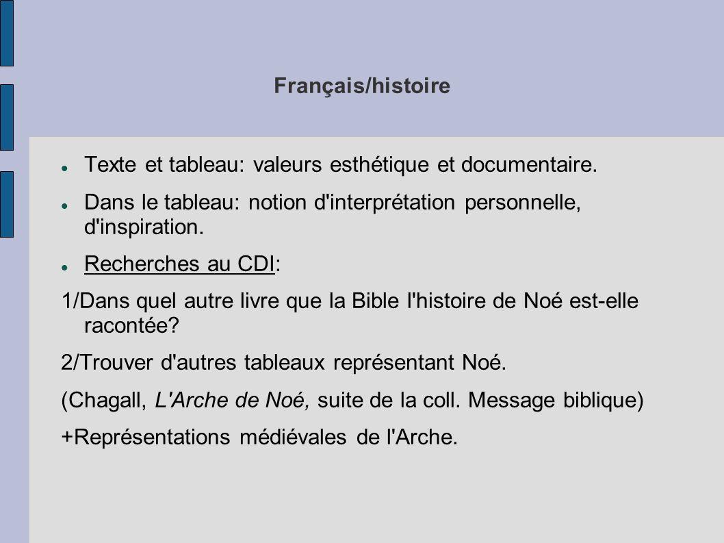 Français/histoire Texte et tableau: valeurs esthétique et documentaire. Dans le tableau: notion d'interprétation personnelle, d'inspiration. Recherche