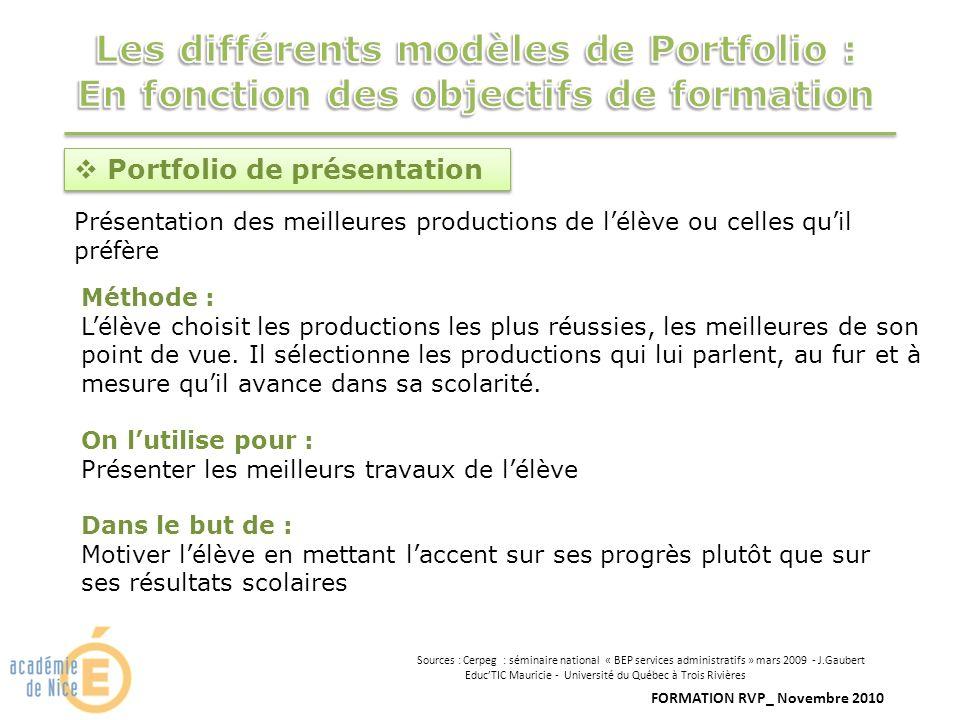 FORMATION RVP_ Novembre 2010 Portfolio de présentation Présentation des meilleures productions de lélève ou celles quil préfère Méthode : Lélève chois