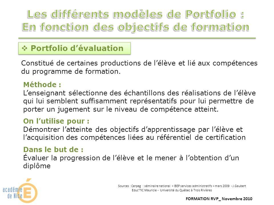 FORMATION RVP_ Novembre 2010 Portfolio dévaluation Constitué de certaines productions de lélève et lié aux compétences du programme de formation. Méth