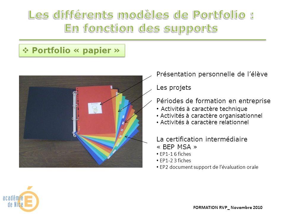 FORMATION RVP_ Novembre 2010 Portfolio « papier » Présentation personnelle de lélève Périodes de formation en entreprise Activités à caractère techniq