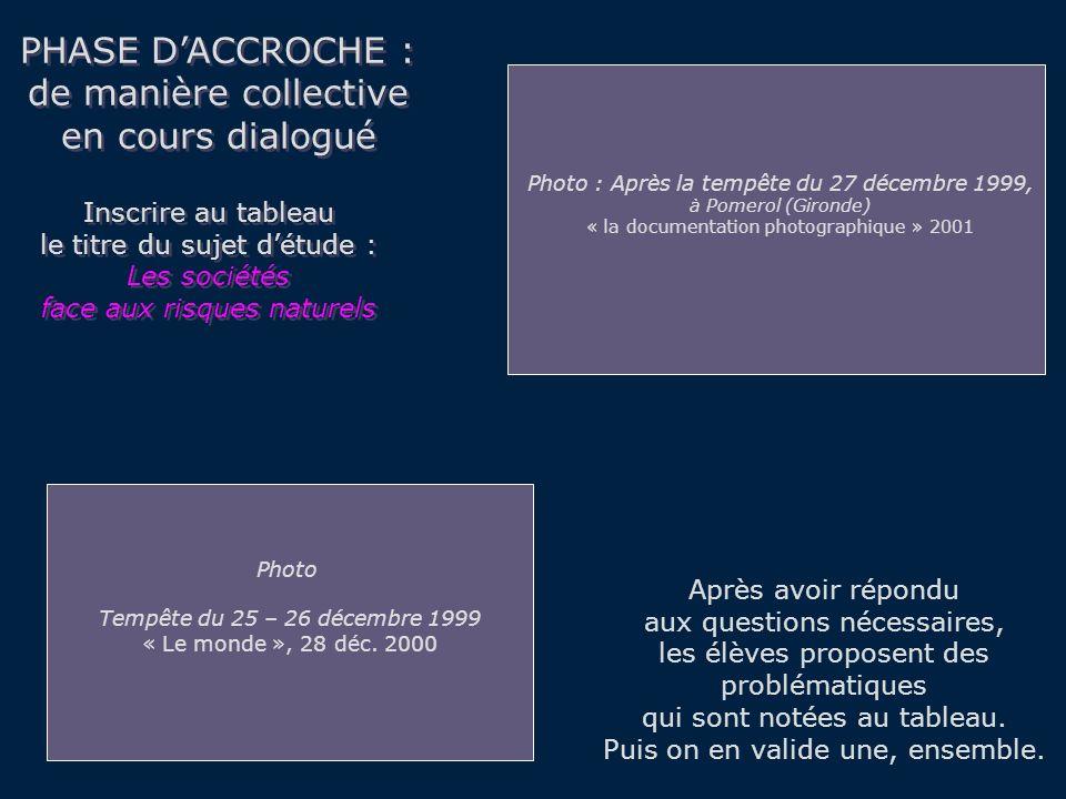 PHASE DACCROCHE : de manière collective en cours dialogué PHASE DACCROCHE : de manière collective en cours dialogué Après avoir répondu aux questions nécessaires, les élèves proposent des problématiques qui sont notées au tableau.
