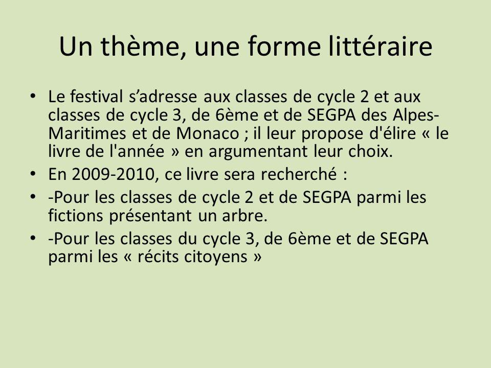 Un thème, une forme littéraire Le festival sadresse aux classes de cycle 2 et aux classes de cycle 3, de 6ème et de SEGPA des Alpes- Maritimes et de M