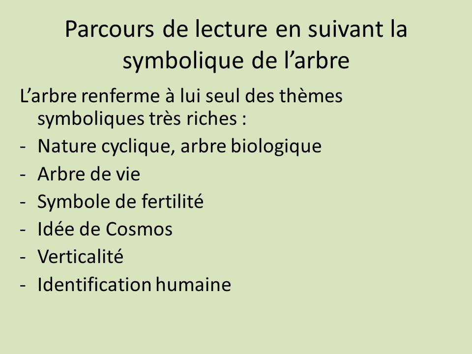 Parcours de lecture en suivant la symbolique de larbre Larbre renferme à lui seul des thèmes symboliques très riches : -Nature cyclique, arbre biologi