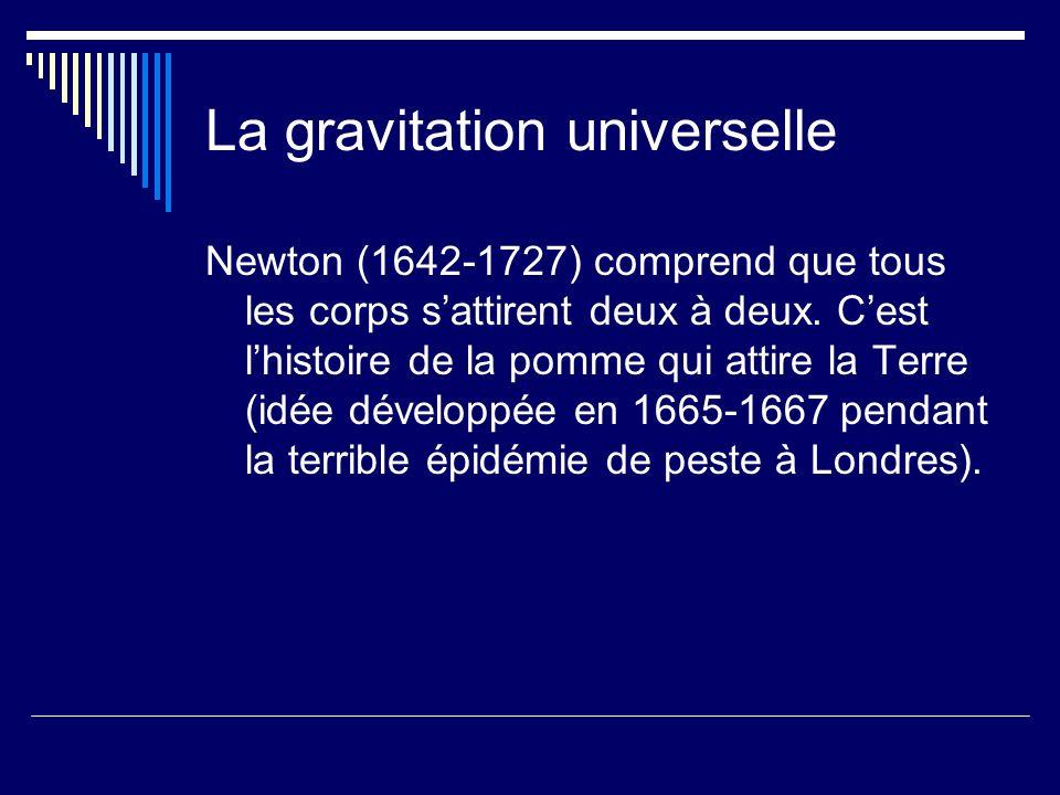 La gravitation universelle Newton (1642-1727) comprend que tous les corps sattirent deux à deux. Cest lhistoire de la pomme qui attire la Terre (idée