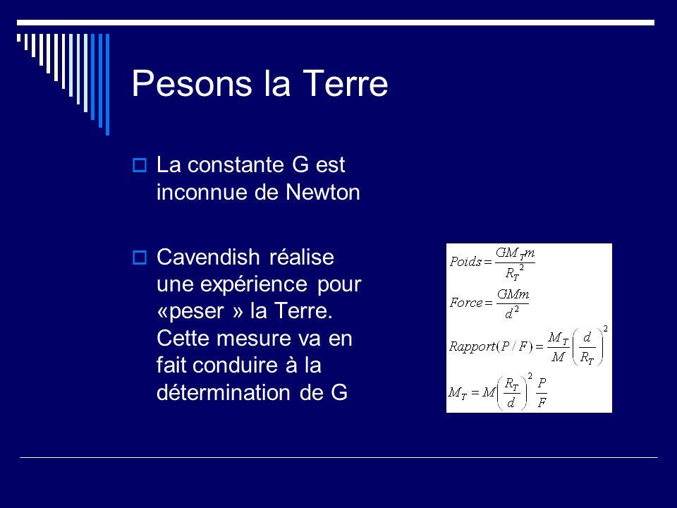 Pesons la Terre La constante G est inconnue de Newton Cavendish réalise une expérience pour «peser » la Terre. Cette mesure va en fait conduire à la d