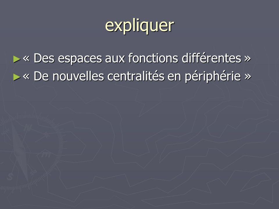 expliquer « Des espaces aux fonctions différentes » « Des espaces aux fonctions différentes » « De nouvelles centralités en périphérie » « De nouvelle