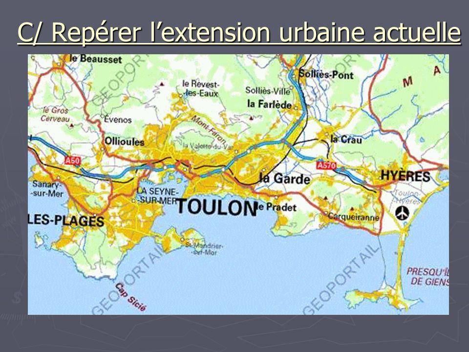 C/ Repérer lextension urbaine actuelle